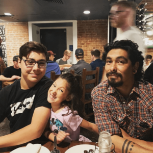 Health and Mindset Coach Jocelyn Martinez at dinner with family